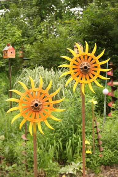 An image of art in a garden