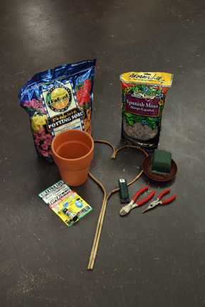 a picture of supplies needed to create a topiary