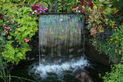 a picture of a water fall feature with colorful annuals to brighten the shady location.