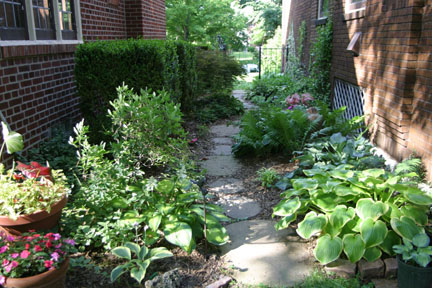 a picture of a side-yard garden path