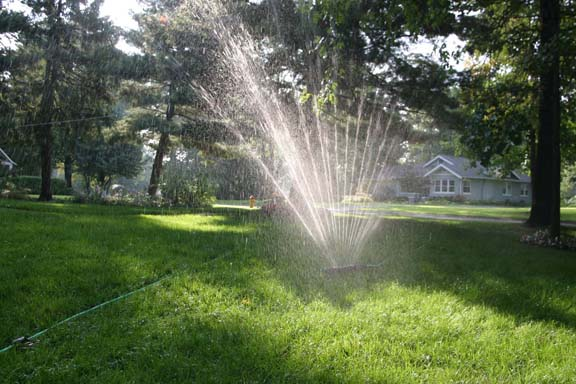 a photo of a water sprinkler in a lawn