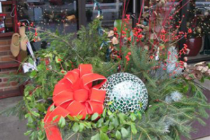 an image of botanical holiday decorations