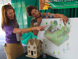 A photo of Cindy Gilberg describing rainscaping design at the Green Homes Festival.
