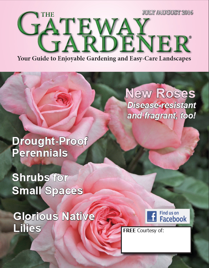 A cover image of the July/August 2016 issue of The Gateway Gardener magazine.