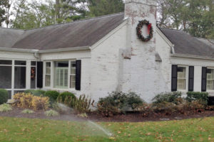 a photo of a sprinkler working in winter.