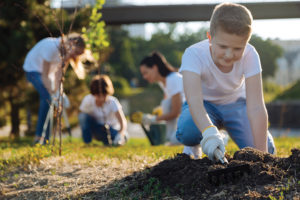 A picture of children gardening