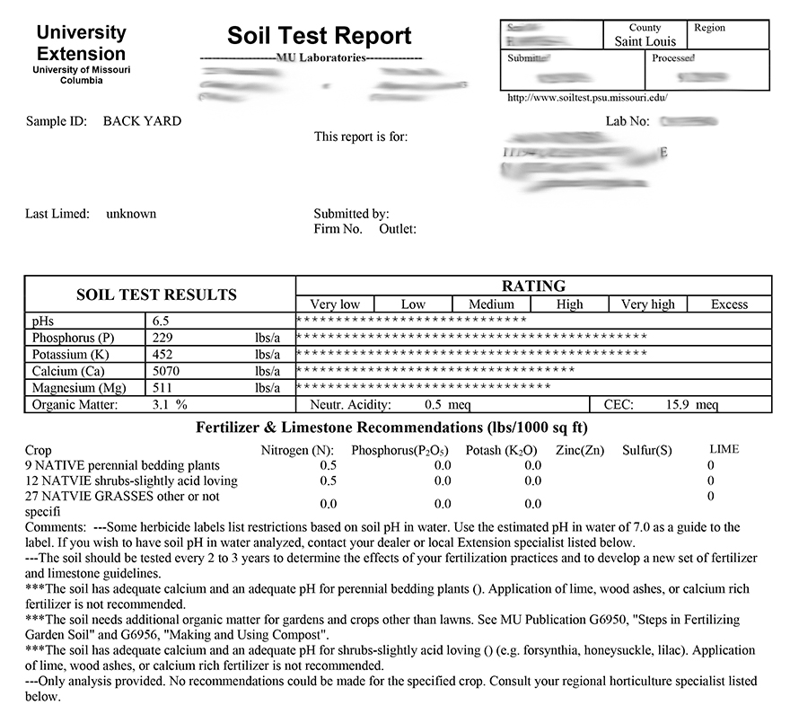 A picture of a soil test report